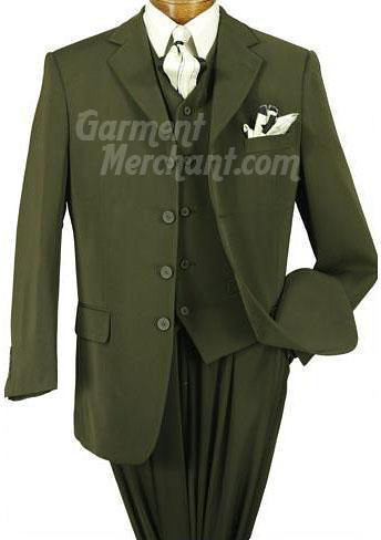 SKU# YLE Olive Green Super 's 3 Buttons Vested Super 's Wool Feel poly~rayon developed by NASA 3 ~ Three Piece Suit $ SKU# PTU Extra Long Dark Olive Green Suits XL Available in 2 Button Style Only for tall men Vented $