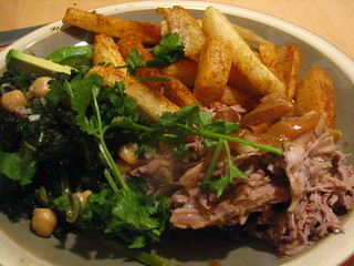 Pernil (Puerto Rican Roasted Pork Shoulder/Butt) with Yucca Fries and Kale with Chickpeas | by SeppySills