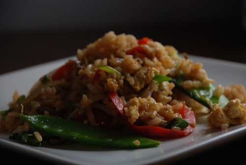 fried rice with peppers, bok choy, and snow peas | by kthread