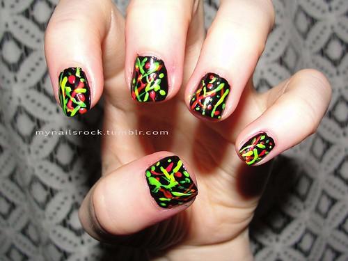 Neon Splatter Paint Nails Neon Splatter Nail Art
