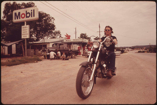 Motorcyclist in Leakey, Texas, near San Antonio, 05/1973 | by The U.S. National Archives