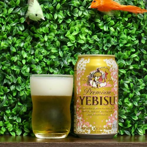ビール:桜の花ラベルのヱビスビール