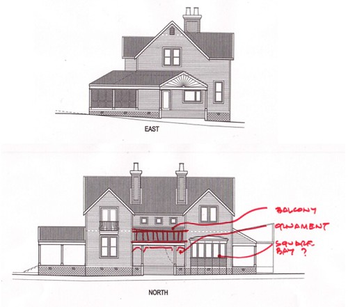 House plan alterations side view top shows the kitchen for Side view house plans