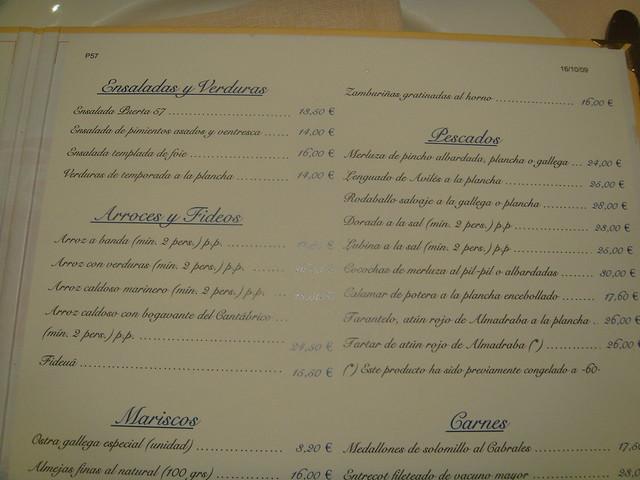 Restaurante puerta 57 madrid carta de platos by for Puerta 57 restaurante