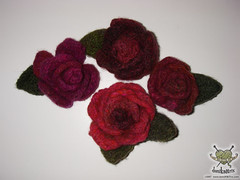 felted flower pins | by domiKNITrix