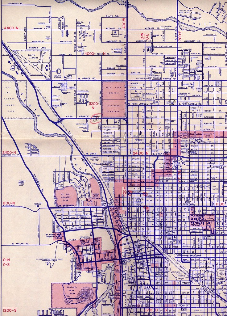 Tucson Street Map 1957 Thornydalemapco Flickr