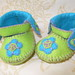 green and lime anckle booties-hand stitched