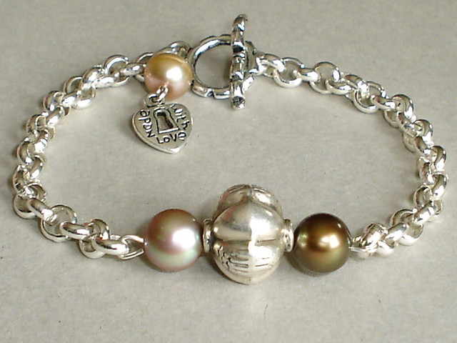 Handmade Cultured Pearls Sterling Silver Bracelet ...