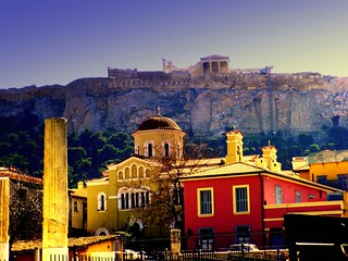 Acropolis viewed from Plaka at last evening sunrays | by zanettco
