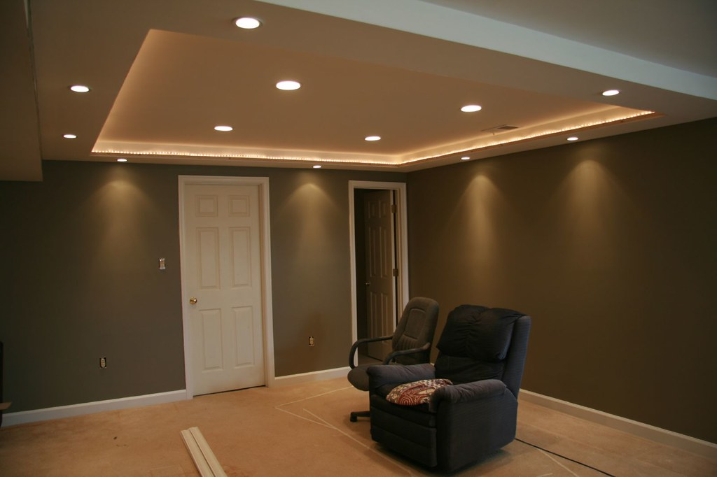 Home Theater Walls Have Been Painted Perimeter Lights