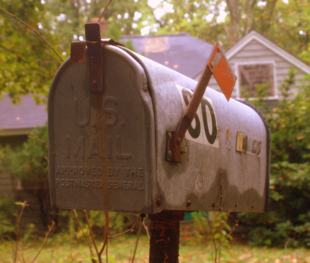 Mail Box Outside A Derelict House In Acton MA