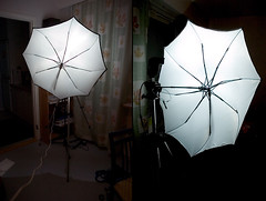 DIY, normal black umbrella modified into a flash diffuser | by akeeh