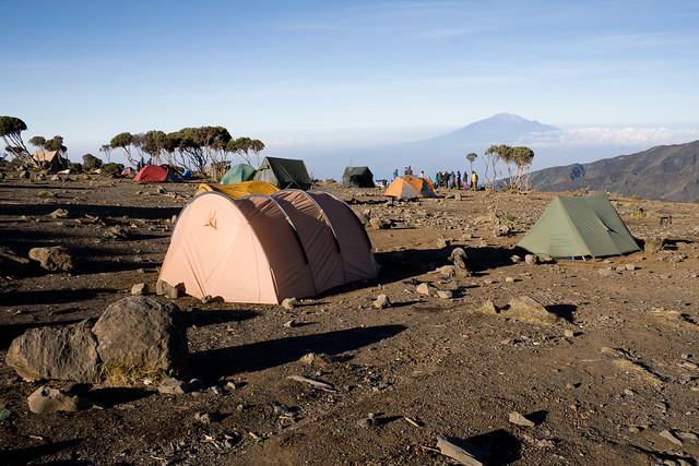 New Shira Camp 3847m asl. in the morning. Mount Meru in the horizon.