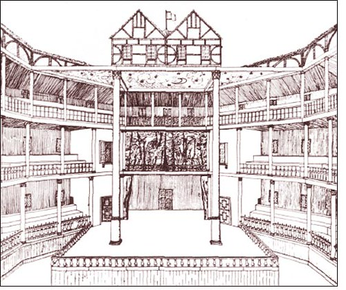 Globe Theatre Frontal Drawing