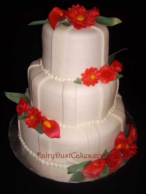 callie 39 s red sugar flowers wedding cake callie 39 s wedding c flickr. Black Bedroom Furniture Sets. Home Design Ideas