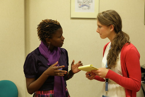 Rosebell Kagumire speaking with a Journalist at Press Conference with Internet Freedom Fellows | by US Mission Geneva