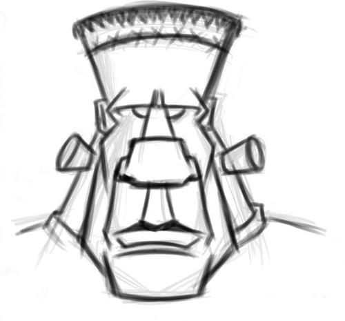 Frankenstein Cartoon Head Sketch 05
