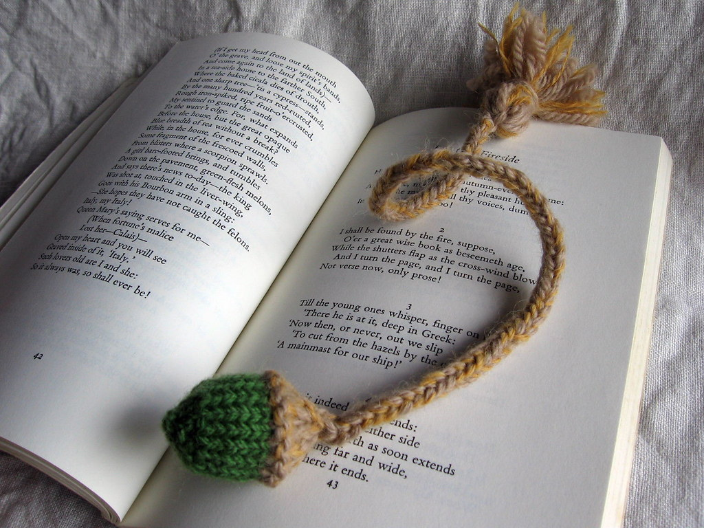 Knitting Pattern For A Book Marker : knitted acorn bookmark Knitted acorn bookmark, heading off? Flickr