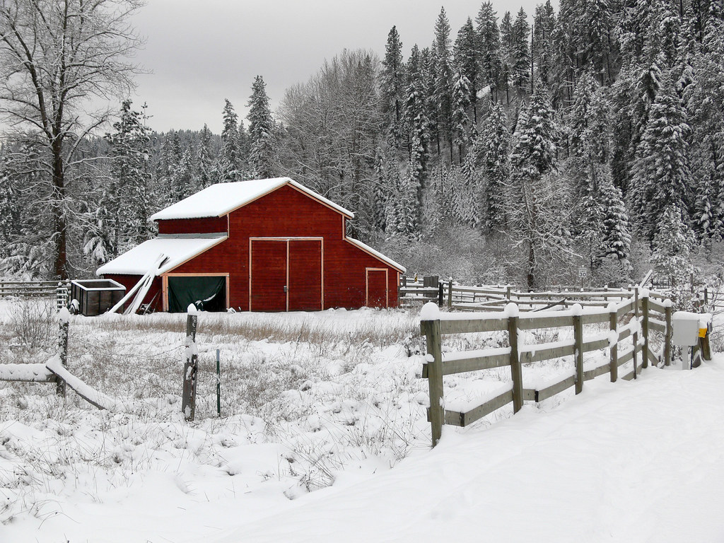 Idyllic a perfect wintery scene near coeur d 39 alene idaho w flickr - Winter farm scenes wallpaper ...