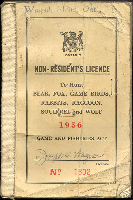 1956 ontario canada walpole island indian preserve non res for Canadian fishing license bc