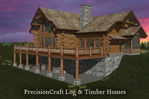Exterior view rendering of a custom milled log home desi for Log and stone home plans