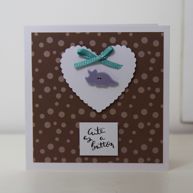 Birthday Dinos Valentine's Cards - Card 1 Cute as a button - purple triceratops