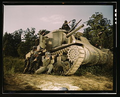 M-3 tank and crew using small arms, Ft. Knox, Ky.  (LOC) | by The Library of Congress
