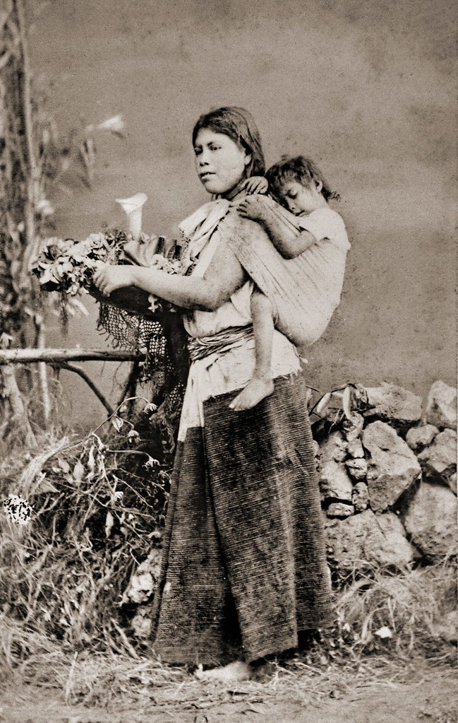 Mexican Woman With Child In Baby Sling From An Album