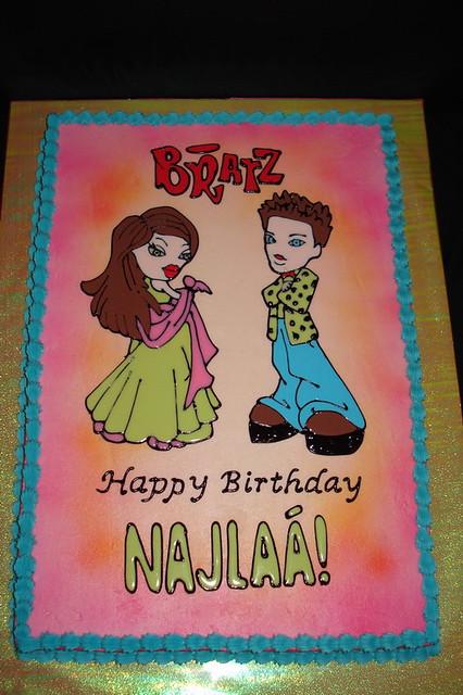 Peachy Bratz Birthday Cake Brightly Colored Bratz Birthday Cake I Flickr Personalised Birthday Cards Akebfashionlily Jamesorg