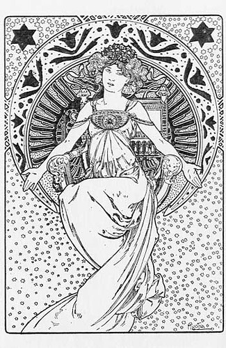 Alfonse mucha sketch deco girl alfonse mucha sketch deco for Free art deco coloring pages