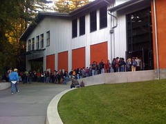 Students in line to see Angela Davis | by Rex Pechler