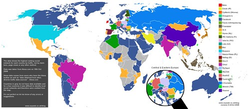 Social Network World Map 2008 | by Gauravonomics