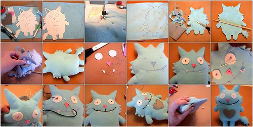 mosaic: Stuffed felt monsters tutorial, by nina cuneo | by Yvonne (bijoux & crafts)