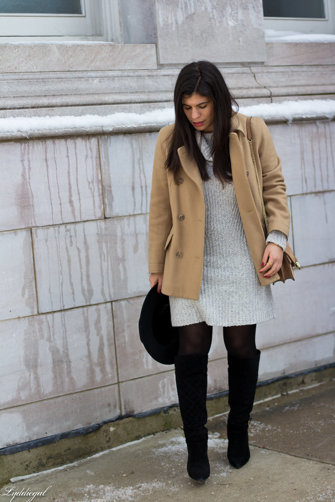 grey sweater dress, camel peacoat, black boots, winter outfit-3.jpg