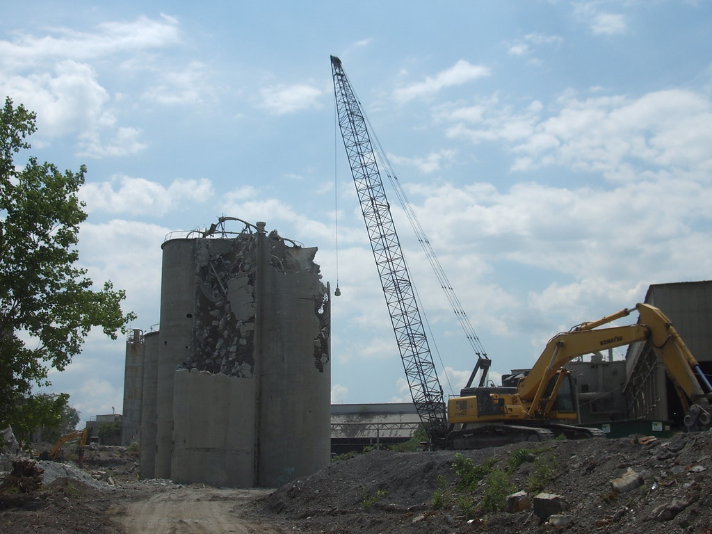 3 Silo Demolition : Silo demolition crane with wrecking ball demolishes