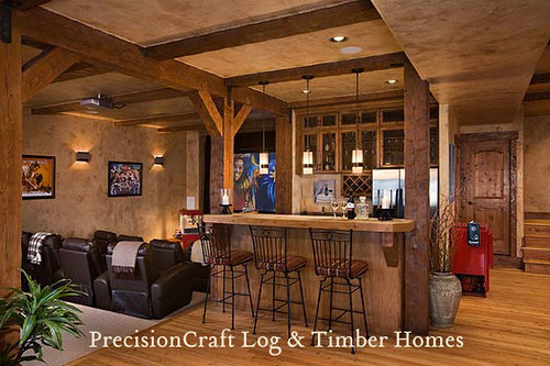 Timber Frame Home Media Room By Precisioncraft Log Hom