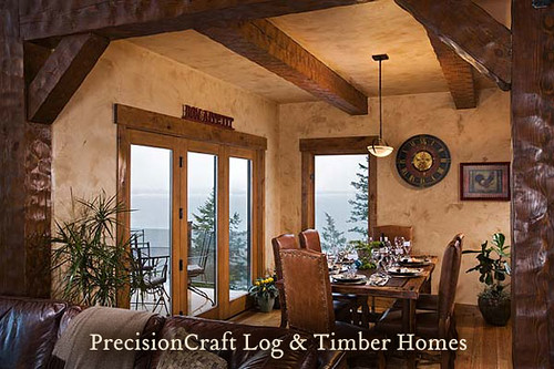 Custom Timber Frame Home | Dining Room View | by PrecisionCraft Log & Timber Homes | by PrecisionCraft Log & Timber Homes