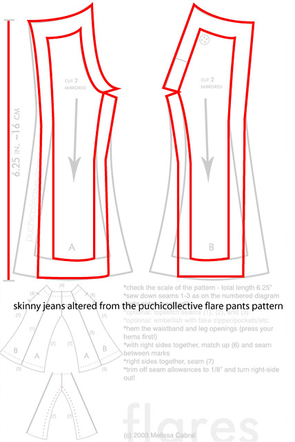 skinny jeans pattern | altered from the puchicollective patt… | Flickr