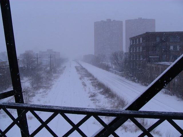 walking bridge in winter