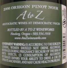 A to Z 2006 Pinot Noir (back) | by 2 Guys Uncorked