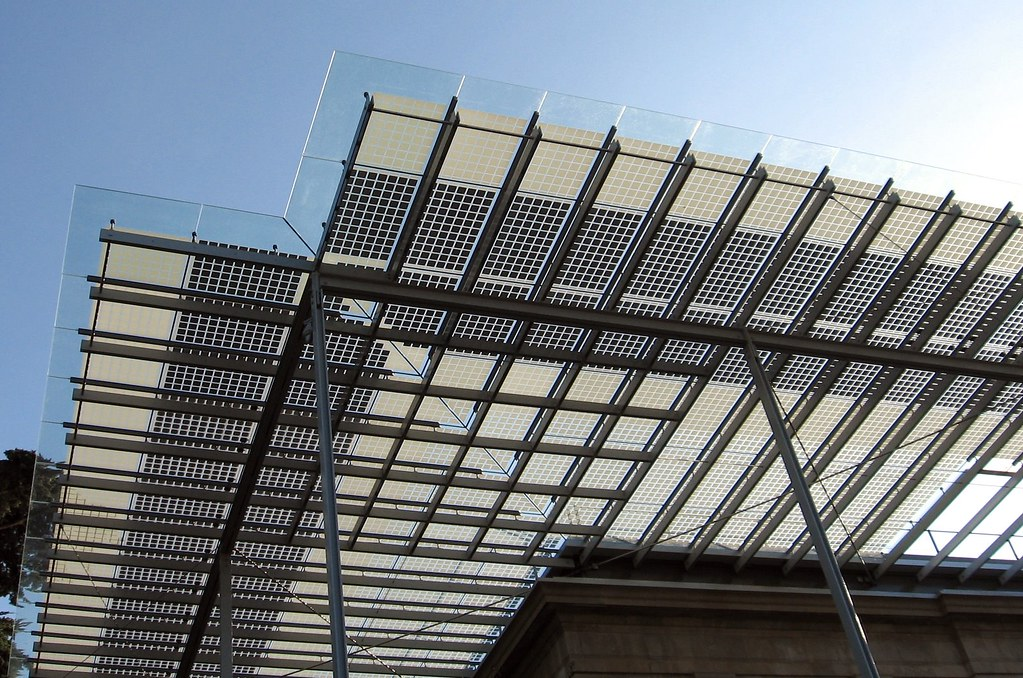Corner Of Glass Canopy At The Corner Of The Building