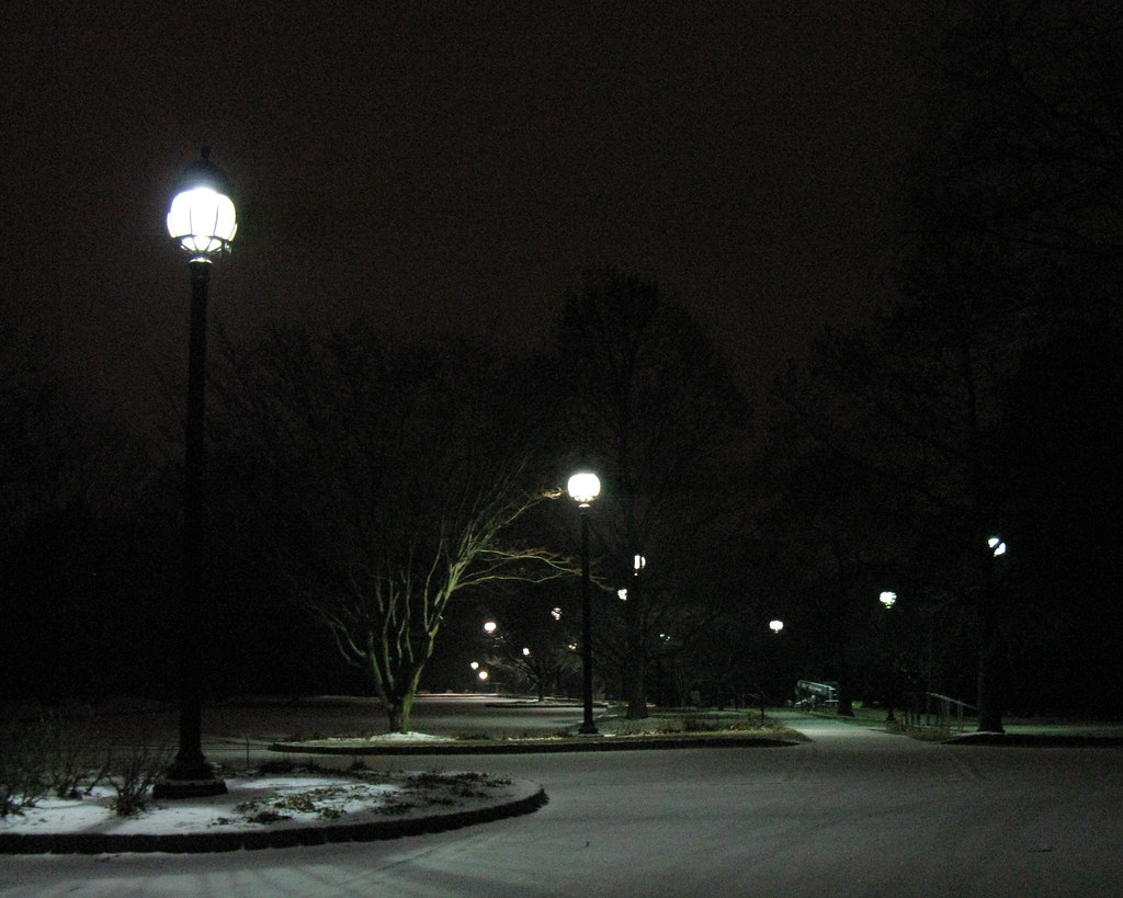 parking lot lamp posts snow fall by the time i headed ho. Black Bedroom Furniture Sets. Home Design Ideas