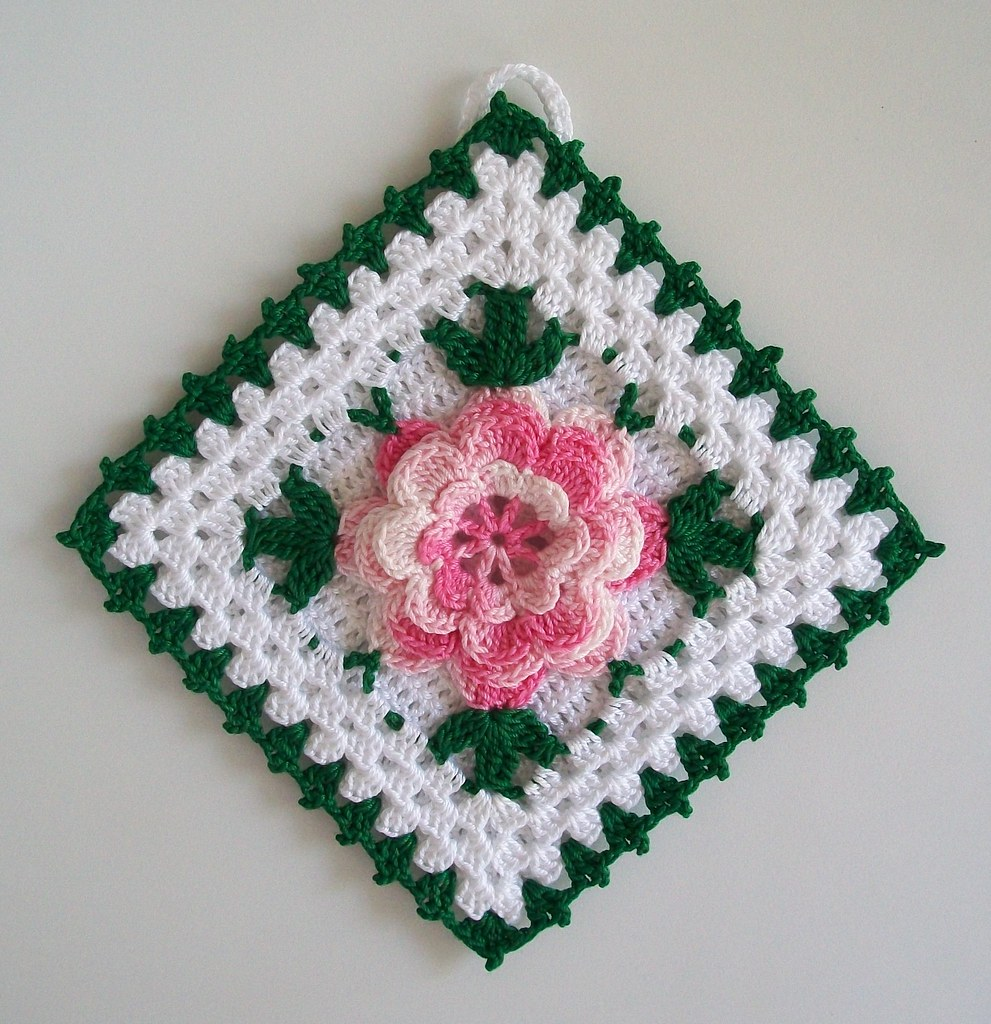 Crochet Potholder In Thread With Rose Flower In Shaded Pin Flickr