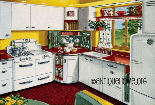 Mixing corner 1950s kitchen design in red and yellow for 50s kitchen ideas