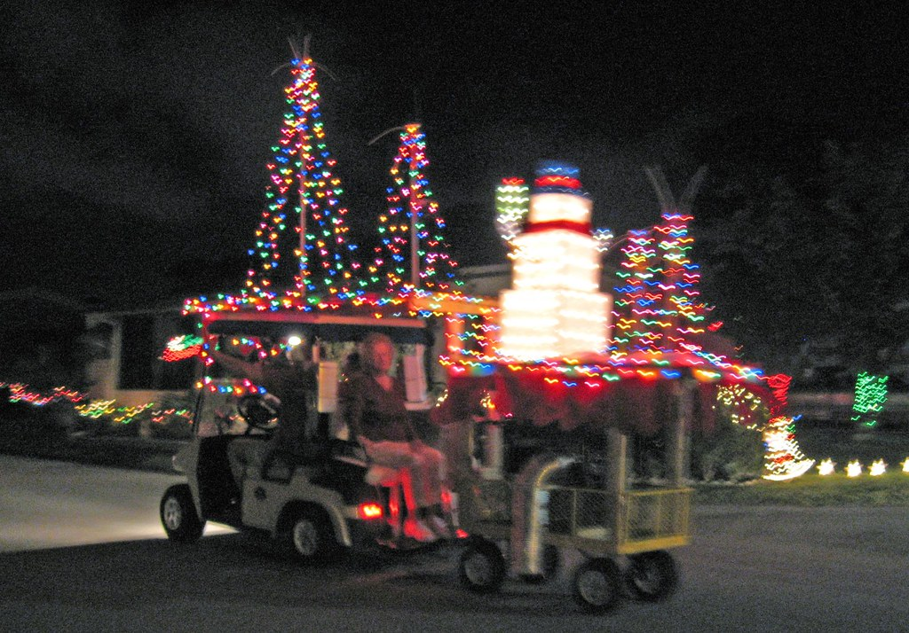 decorated golf cart pulling trailer by flasunshine