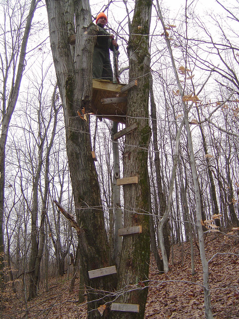 Kevin 39 s tree stand my friend kevin has recently taken up for How to make a deer stand out of wood