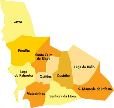 mapa matosinhos Concelho de Matosinhos   Portugal   Mapa das freguesias   Jorge  mapa matosinhos