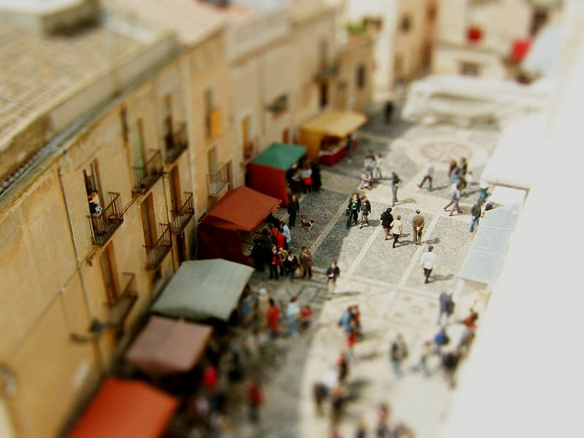 minature, market, tilt, shift