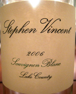 Steven Vincent 2006 Sauvignon Blanc front | by 2 Guys Uncorked