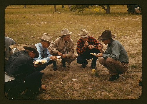 Men of the community of Pie Town, New Mexico eating at the barbeque  (LOC) | by The Library of Congress